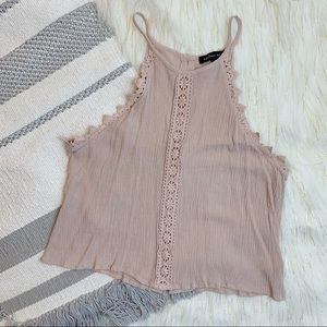 Kendall & Kyle Pink Lace Button Back Crop Top